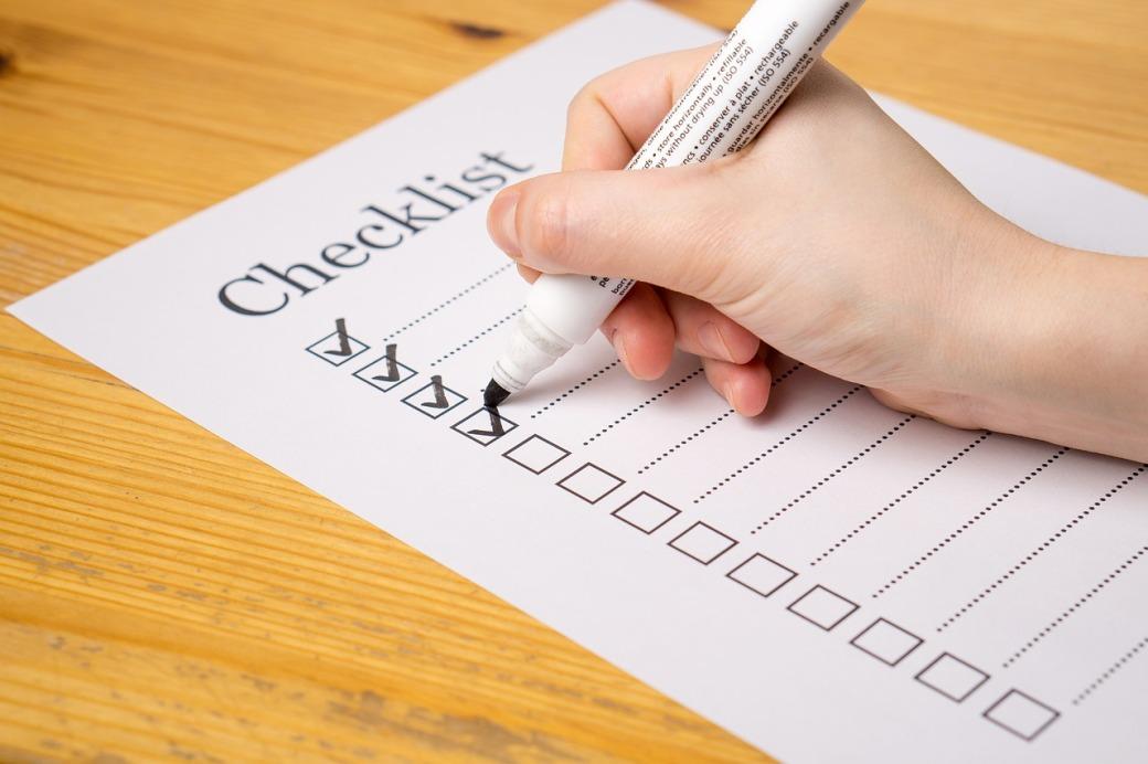 Examination topic checklist